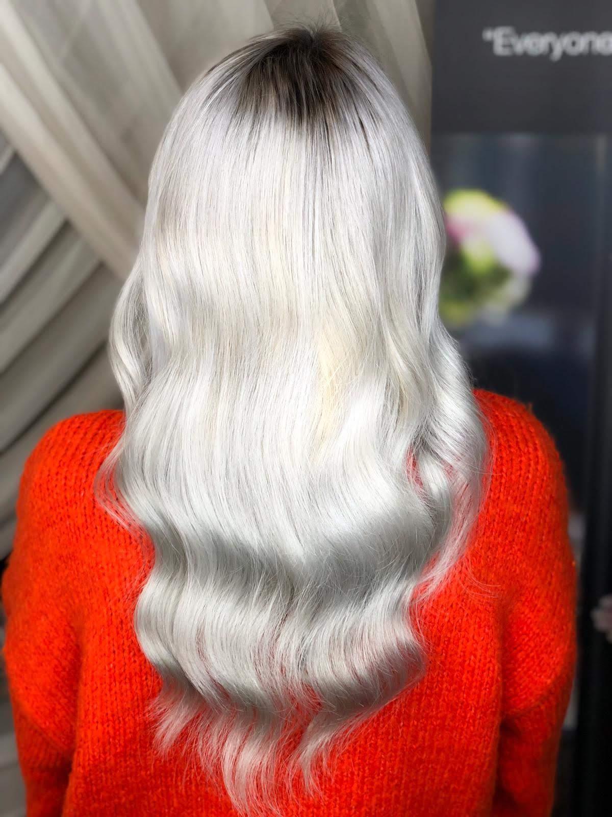 ombre cu blond alb